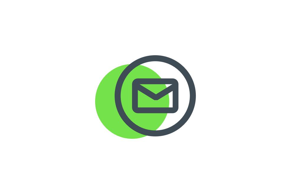 email circle verde